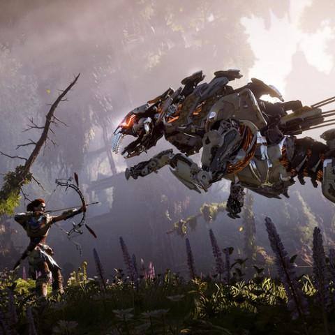 在荒野中與機械獸激戰,找出自己的身世之謎。PS4《地平線:期待黎明》深入試玩