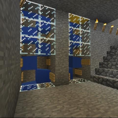 Minecraft:小雪的地下秘密基地14「方便在基地內上下移動的水電梯」